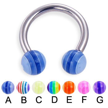 Circular barbell with acrylic layered balls, 12 ga