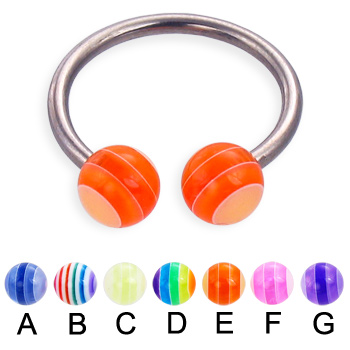 Titanium circular barbell with acrylic layered balls, 14 ga