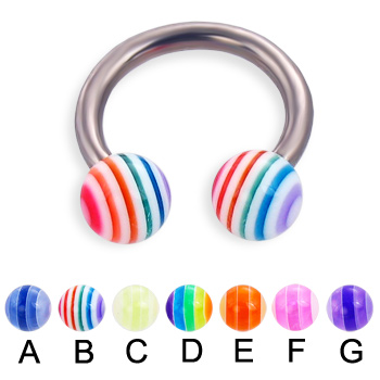 Titanium circular barbell with acrylic layered balls, 12 ga