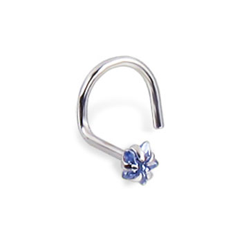 14K White Gold Nose Screw With Star-Shaped Lt Blue Cubic Zirconia, 20 Ga