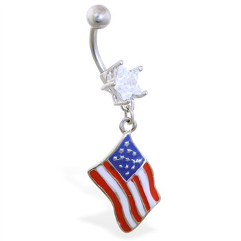 Belly Ring with Dangling American Flag