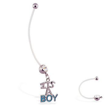 "Super long flexible bioplast belly ring with dangling ""ITS A BOY"""