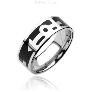 316L Surgical Stainless Steel Rings. Black with Gay pride