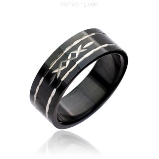316L Stainless Steel Ring. Black W/ Tribal Pattern