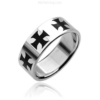 316L Stainless Steel Ring. Black Celtic Cross
