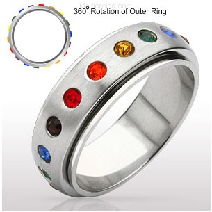 Gay Pride Surgical Steel Spinning Ring with Gem