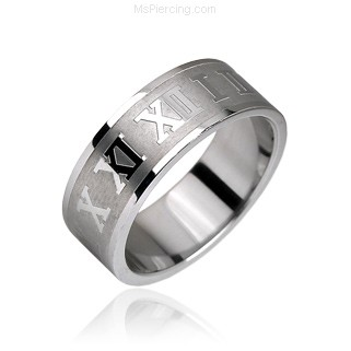 Surgical Steel Ring with Roman Numerals