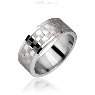 Surgical Steel Checker Pattern Ring