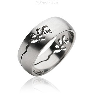 Men's 316L Lizard Carved Surgical Steel Ring