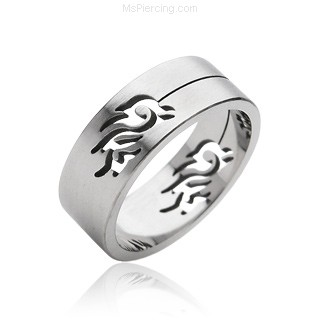 Men's 316L Tribal Carved Surgical Steel Ring
