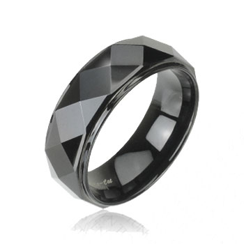 Black IP tungsten carbon ring with drop down sides