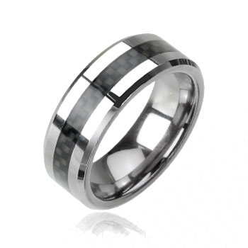 Tungsten carbine ring with black carbon fiber inlay