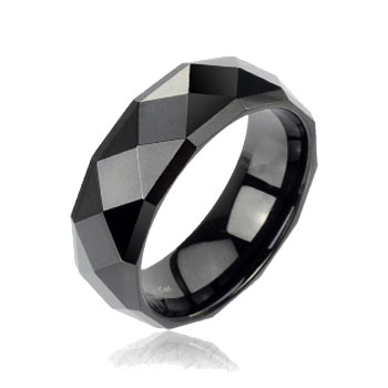 Black faceted tungsten carbine ring with drop down edges