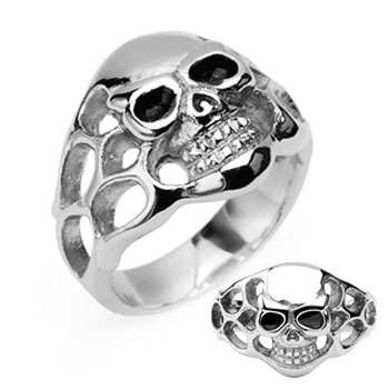 316L Surgical Stainless Steel Skull w/Side Flames Ring