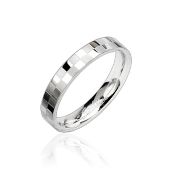 316L Stainless Steel Checker Engraved Ring