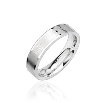 316L Stainless Steel Ring with Cross Engrave