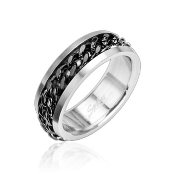 316L Stainless Steel Ring with Spinning Center Black Chain