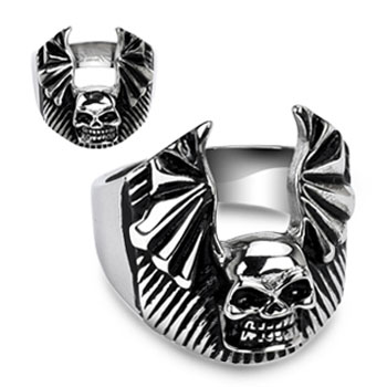 316L Surgical Stainless Steel Skull Bat Wing Ring