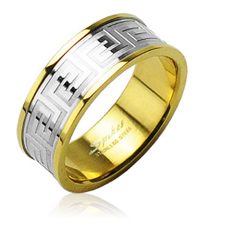316L Surgical Stainless Steel Rings/ IP Gold/ Steel Center/Maze