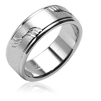 316L Surgical Stainless Steel Rings W/ Brushed Wave Pattern