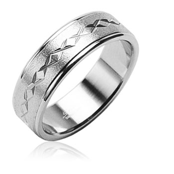 316L Surgical Stainless Steel Ring with brushed center with carved X's