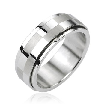 316L Stainless Steel Big Checker Center Spinner Ring