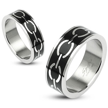 316L Stainless Steel Black Enamel Love Links Ring