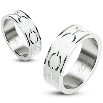 316L Stainless Steel White Enamel Love Links Ring