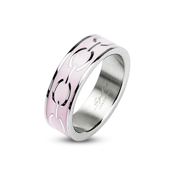 316L Stainless Steel Pink Enamel Love Links Ring