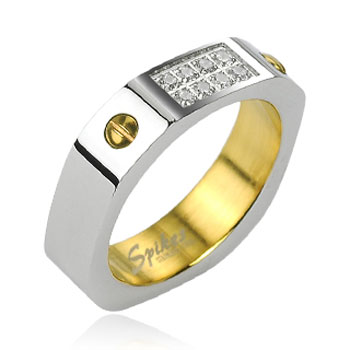 316L Stainless Steel Square Faceted 8 CZ Accent Ring