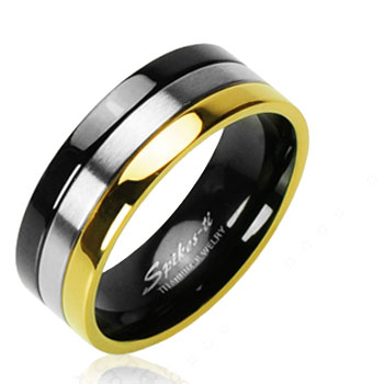 Solid Titanium with Gold Tone and Onyx Colored Edged Ring