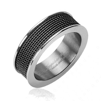 Solid Titanium with Black Screen Ring