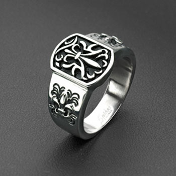 316L Stainless Steel Royal Fleur De Lis Plate Ring