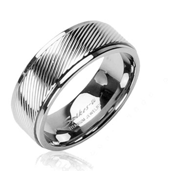 Solid Titanium with Diagonal Pin Stripe Band Ring