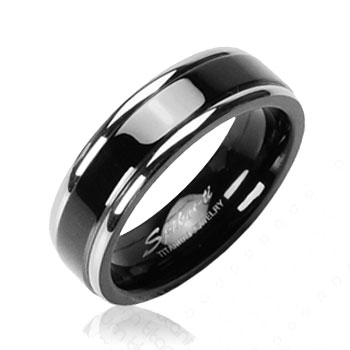 Solid Titanium Black Band with Double Stripe Ring