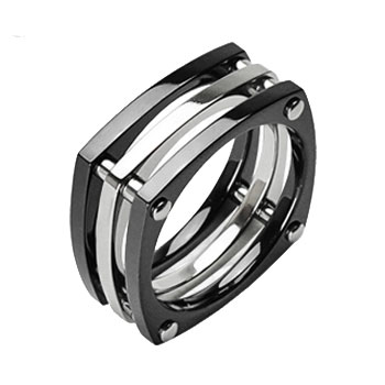 Solid Titanium with IP Black Squared with Bolts Ring