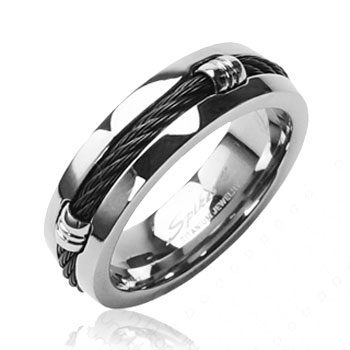 Solid Titanium with Black Chain Design Ring