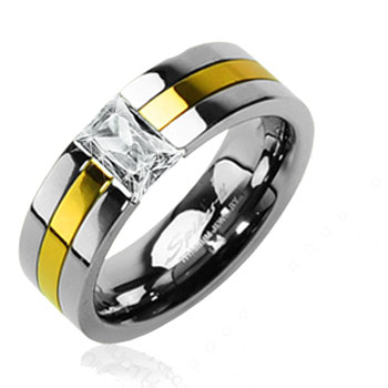 Solid Titanium with Gold Tone with CZ Stone Ring