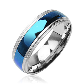 316L Surgical Stainless Steel Rings/ IP Blue Center