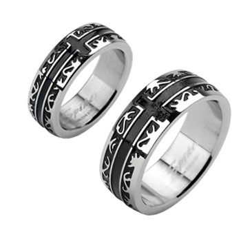 Stainless Steel Black IP Tribal with a Cross Ring