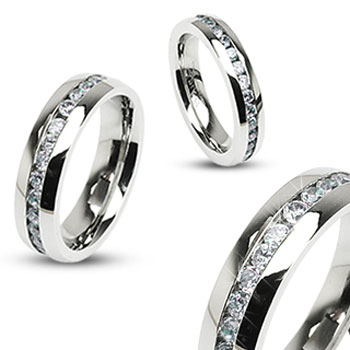 316L Stainless Steel Eternity Clear Gems Ring