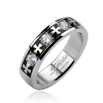 316L Stainless Steel Celtic Cross with Triple Gem Ring