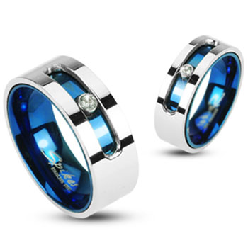316L Stainless Steel Blue IP Double Layered Ring with A Rotating Gem Slot with CZ