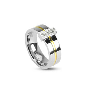 316L Stainless Steel 2 Tone Ring with Grooved gold Center with 3 clear CZs