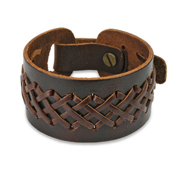 Brown Leather Bracelet With Double Weaved X Braids