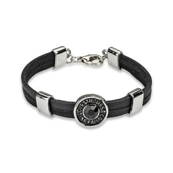 Black Leather Bracelet With 'Love Strauss' Steel Accent With Gem