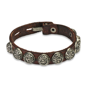 Brown Leather Bracelet With 9 Roman Style Accent Studs