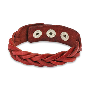 Red Leather Bracelet with Cross Braided Double Strips