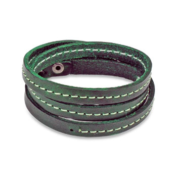 Green Leather Triple Wrap Bracelet with Stitched Center Design
