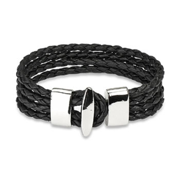 Black Braided Leather 4 Strings Bracelet